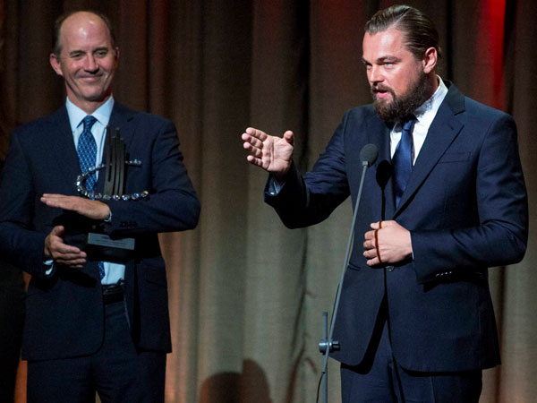 Actor and activist Leonardo DiCaprio speaks