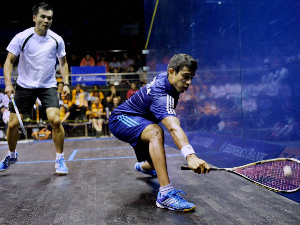 Saurav Ghosal plays a shot against Malaysia's Ong Beng Hee during the men's singles semi-final