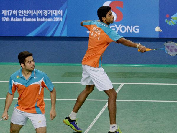 Buss Sumeeth Reddy and Attri Manu during the Men's Doubles badminton