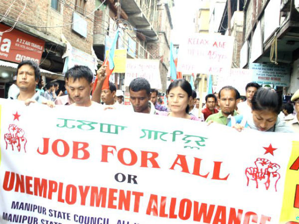 People demanding Job for all in India.