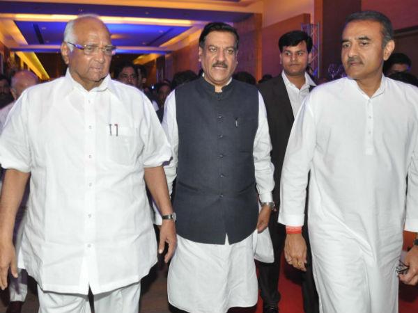 Maha CM Prithivraj Chavan with NCP leaders