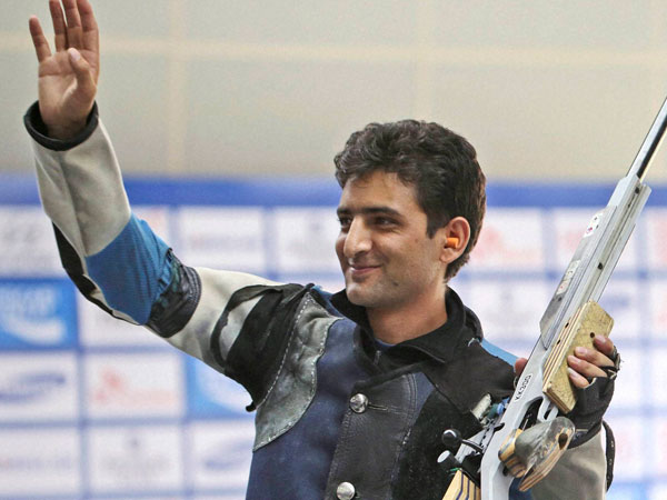 India's Chain Singh waves after winning bronze in men's 50 metre rifle 3 positions shooting event at the 17th Asian Games in Incheon, South Korea on Saturday.