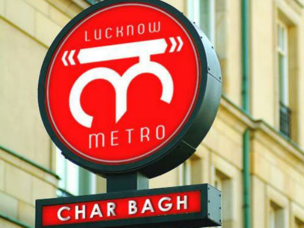 Sign post of Charbagh metro station.