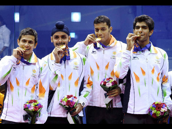 India's gold medal winners Saurav Ghosal, Harinder Pal Singh Sandhu, Kush Kumar and Mahesh Manaonkar during the medal ceremony of Men's squash team event