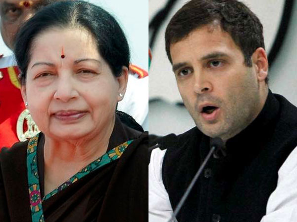 Jayalalithaa and Rahul Gandhi