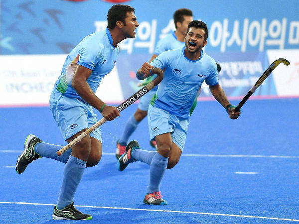 File photo: VR Raghunath (left) celebrates a goal for India with his team-mate