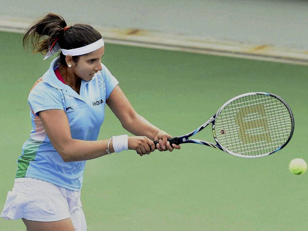 Sania Mirza in action at the Asian Games in Incheon
