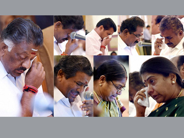Chief Minister O Panneerselvam and other AIADMK leaders get emotional