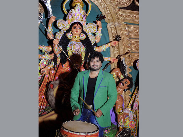 Singer and BJP MP Babul Suprio plays drum