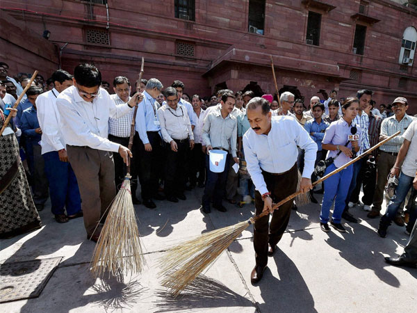 MoS for PMO Jitendra Singh along with his officials sweep