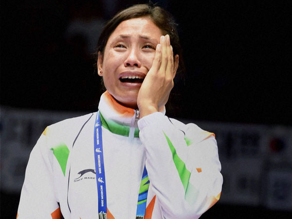 File photo of Sarita Devi during Asian Games medal ceremony