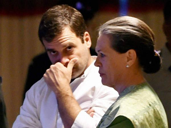 Congress president Sonia with Rahul Gandhi