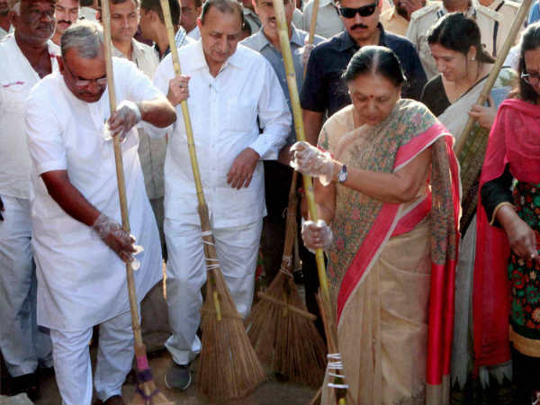 Anandiben Patel wields the broom at a cleanliness drive