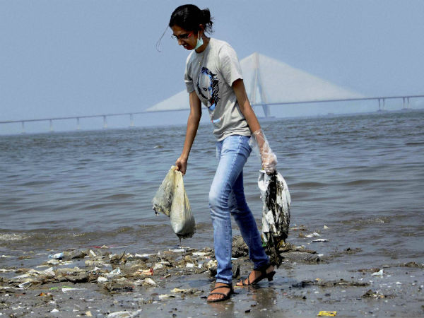 College student participates in a cleanliness drive