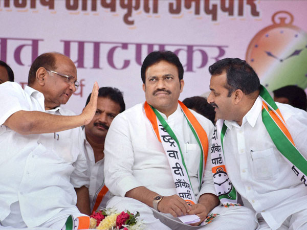 NCP chief Sharad Pawar with party candidates