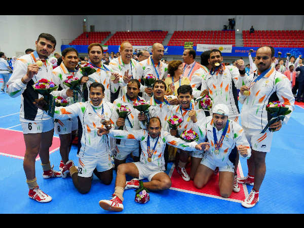 Gold medal winning India's men's Kabaddi team posing for a group photo graph with their medals at the 17th Asian Games in Incheon on Friday.