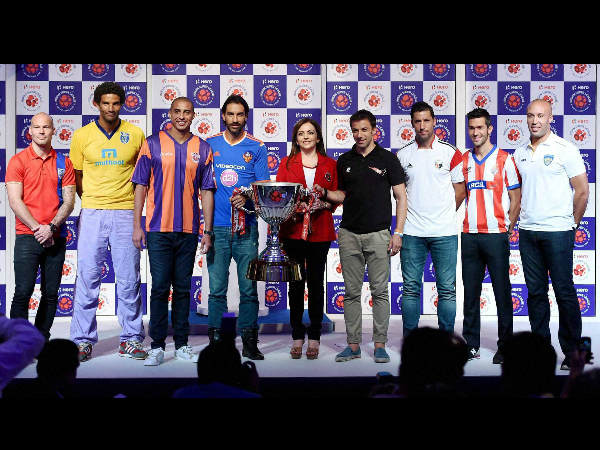Chairperson of Football Sports Development, Neeta Ambani along with Fredrik Ljungberg (Mumbai City) David James (Kerla Blasters) David Trezeguet (FC Pune City) Robert Pires (FC Goa) Alessandra Del Piero (Delhi Dynamos FC) Joan Capdevila (Northwest United FC) Luis Garcia (Atletico de Kolkata) and Mikael Silvestre (Chennaiyin FC) during the unveiling of the ISL (Indian Super League) trophy in Mumbai on Sunday.
