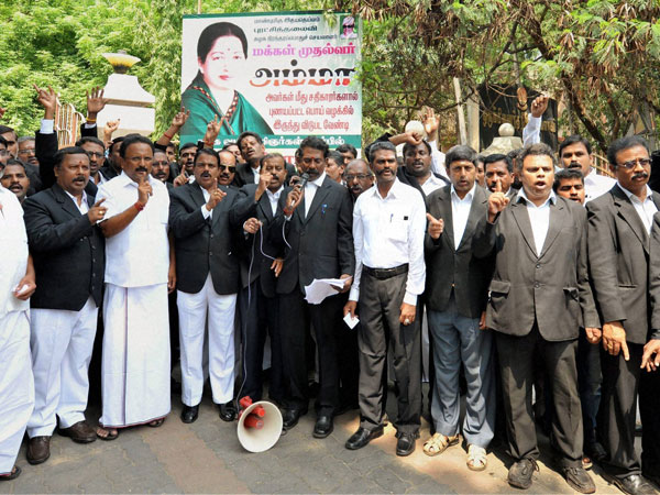 ADMK lawyers and supporters of AIADMK Supremo J Jayalalitha