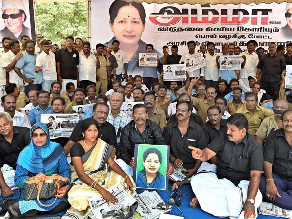 Members of Tamil Nadu State Transport Corporation sit on a hunger strike