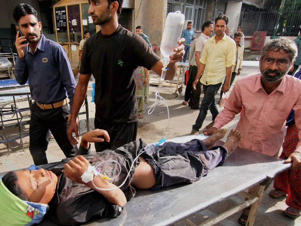 A child injured during shelling from Pakistani side