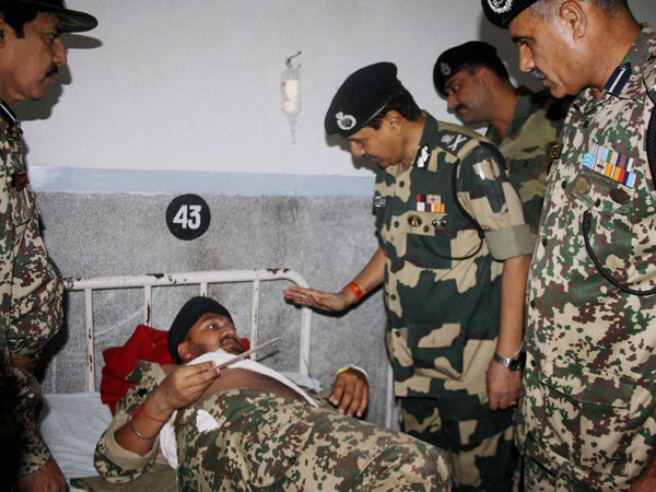 BSF Director General D K Pathak meets an soldier injured
