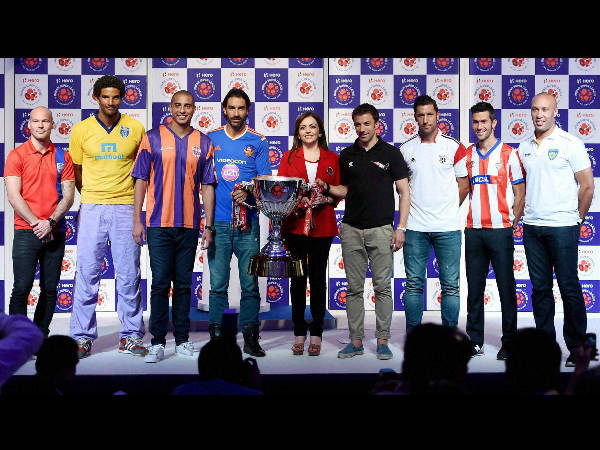 All the marquee players of ISL, barring Elano Bulmer, with Chairperson of Football Sports Development, Neeta Ambani (centre). From left: Fredrik Ljungberg (Mumbai City), David James (Kerla Blasters), David Trezeguet (FC Pune City), Robert Pires (FC Goa), Alessandra Del Piero (Delhi Dynamos FC), Joan Capdevila (Northwest United FC) Luis Garcia (Atletico de Kolkata) and Mikael Silvestre (Chennaiyin FC) during the unveiling of the ISL (Indian Super League) trophy