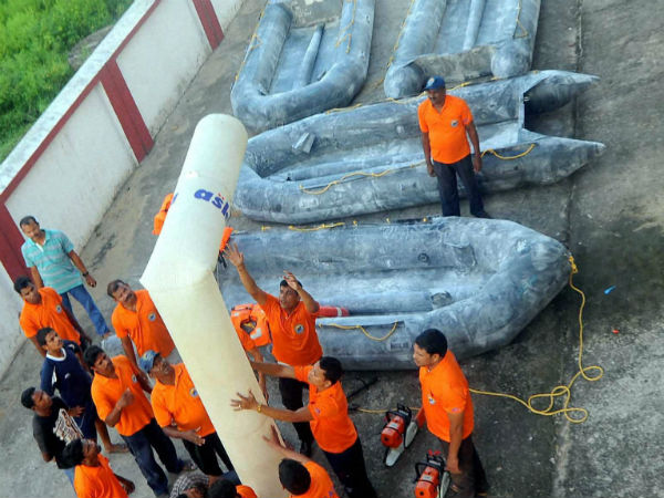 Odisha Disaster Rapid action force (ODRAF) personnel checking up their equipment in preparation ahead of cyclone HudHud in Bhubaneswar on Wednesday.