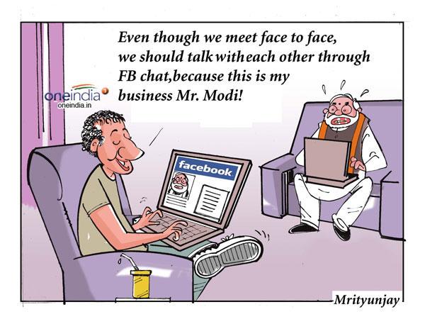 Cartoon: 'Facebook' of Zuckerberg, Modi
