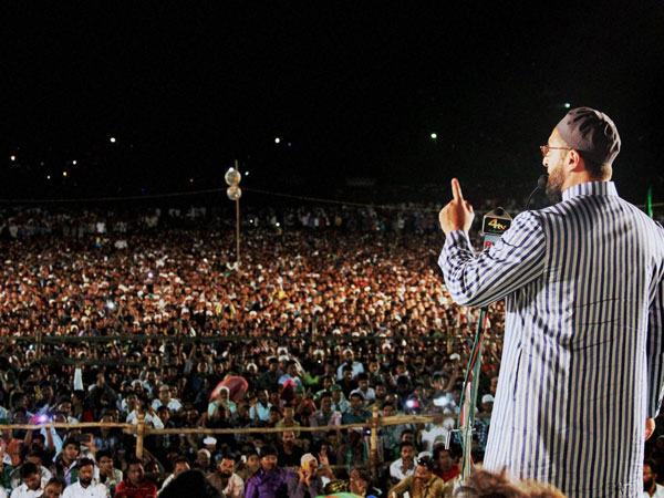 MIM President Asaduddain Owaisi addressing a massive election