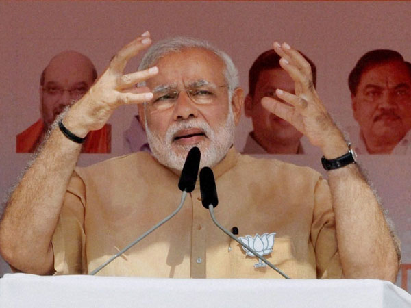 Prime Minister Narendra Modi addreses an election campaign rally