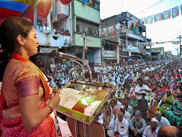 NCP leader Supriya Sule addresses an election campaign