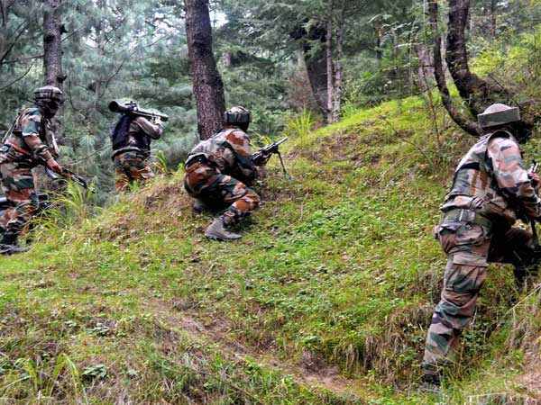Army personnel during an encounter with the militants