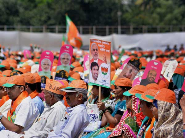 BJP supporters during an election campaign rally