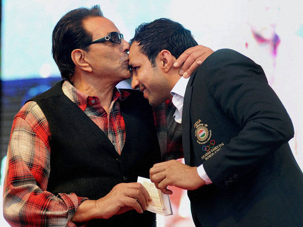 Bollywood actor Dharmendra and Indian Kabaddi player Rakesh Kumar
