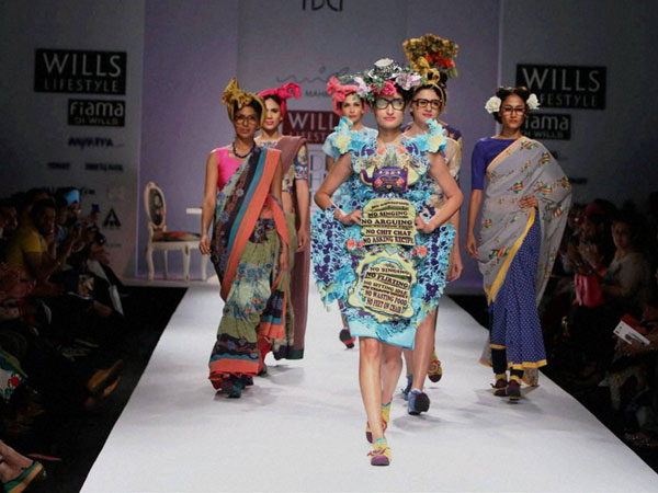 Models walk the ramp at Wills Lifestyle India Fashion Week