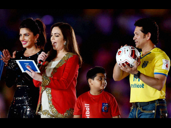 ISL Founding Chairperson Nita Ambani declare the Indian Super League (ISL) 2014 open as cricketer Sachin Tendulkar and bollywood actress Priyanka Chopra look on at Salt Lake stadium in Kolkata on Sunday.