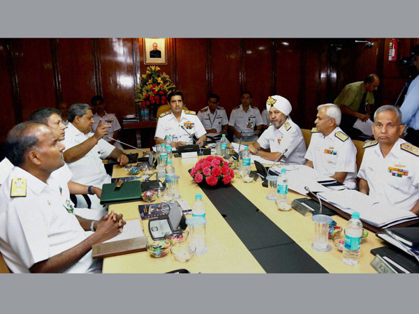 Chief of Naval Staff, Admiral R.K Dhowan interacting with the Naval Commanders