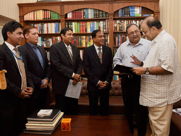 Finance Minister Arun Jaitely and Gujarat Finance Minister Saurabh Patel