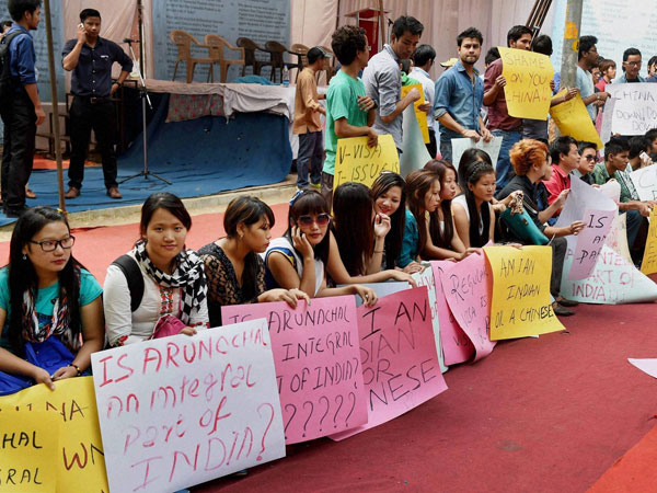 Activists of Arunachal Civil Society (ACS) holding a protest