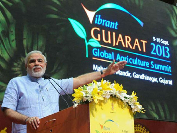 PM Modi addressing Vibrant Gujarat in 2013.