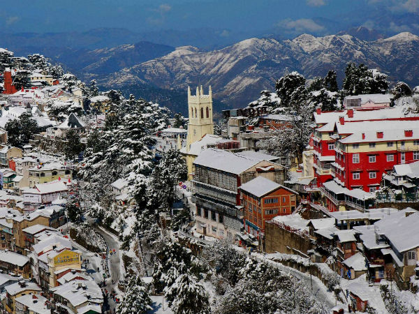 An Arial view of snow-covered city after heavy snowfall in Shimla.