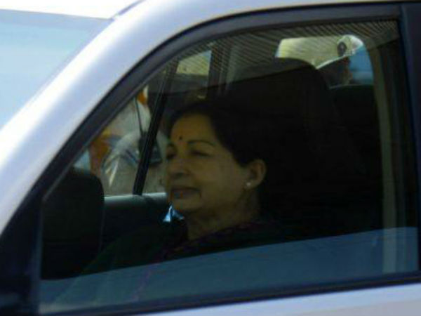 Jayalalithaa after release from bangalore jail.
