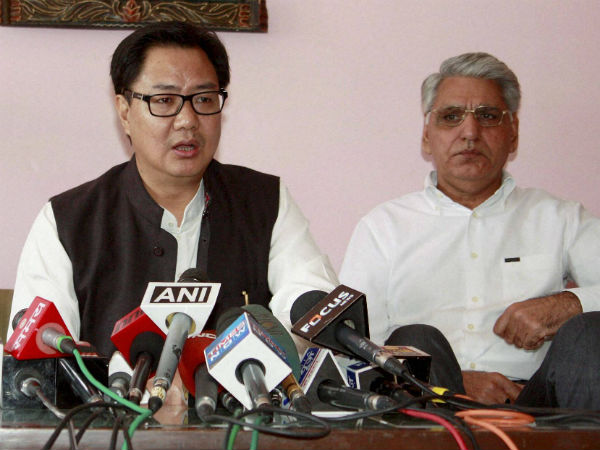Minister of State for Home Affairs Kiren Rijiju addressing the media after a meeting on racist attack with people hailing from Northeast states, in Gurgaon on Saturday. PTI Photo