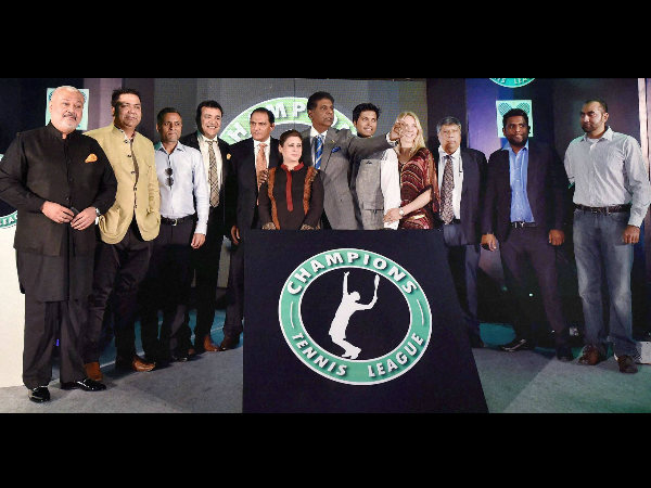 Indian tennis legend and global ambassador of the sport, Vijay Amritraj along with team owners during the announcement of Champions Tennis League in Mumbai on October 1.