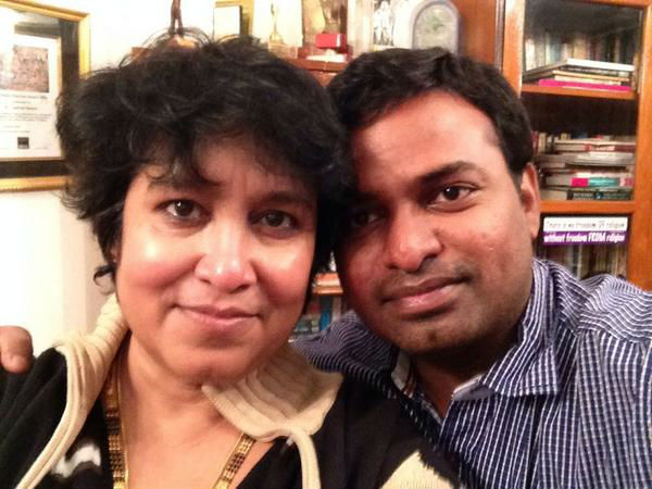 Taslima Nasreen with her boyfriend