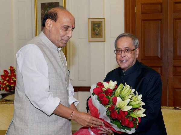 President Pranab Mukherjee at a meeting with Rajnath Singh