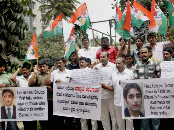 Activists of Youth congress protest against Bilawal Bhutto son of Late Benazir Bhutto for his recent remark on Kashimir, in Bengaluru.