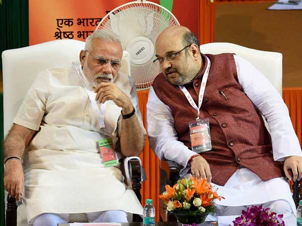 PM Narendra Modi with BJP chief Amit Shah