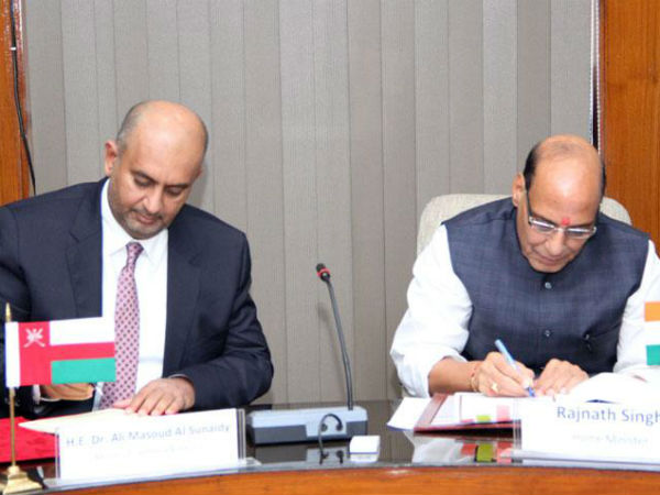 Rajnath Singh and Commerce and Ind. Min. of Oman, sign legal assistance agreement in criminal matters.