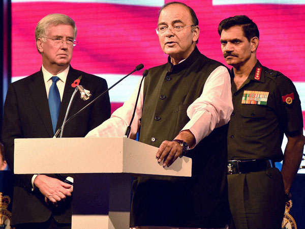 Union Defence Minister Arun Jaitley with UK Secretary of State for Defence